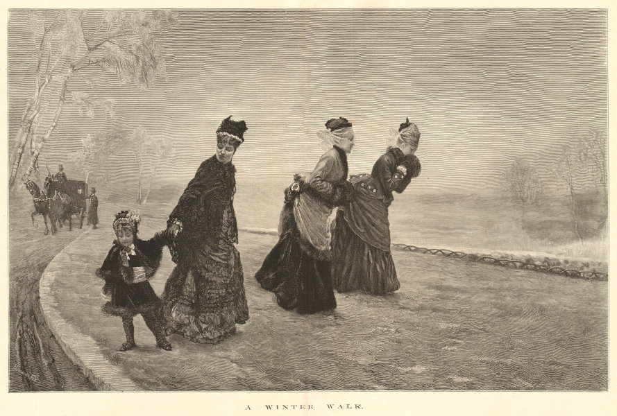 A winter walk. Family. Ladies child horse & carriage 1875 ILN full page print