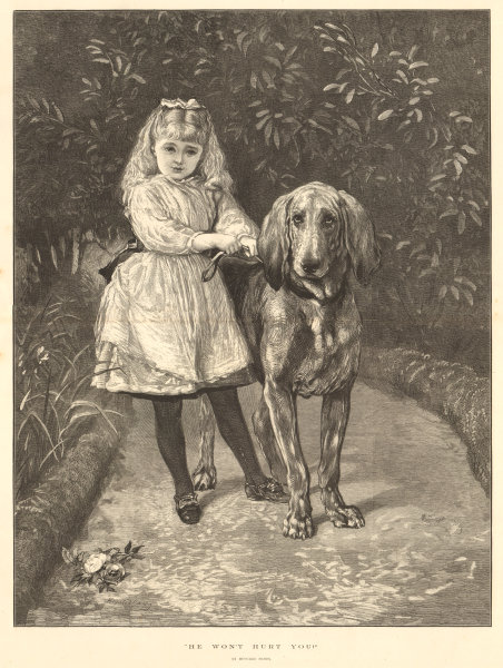 """Associate Product """"He won't hurt you"""". By Heywood Hardy. Children. Dogs 1875 ILN full page print"""