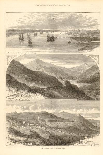 Rio Tinto mines, southern Spain. Huelva. Railway. Villages & mines 1875