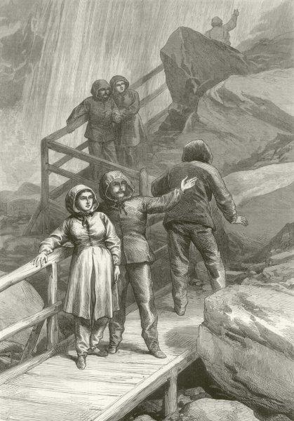 Associate Product American Sketches: Visitors to the falls of Niagara. Raincoats 1875 ILN print