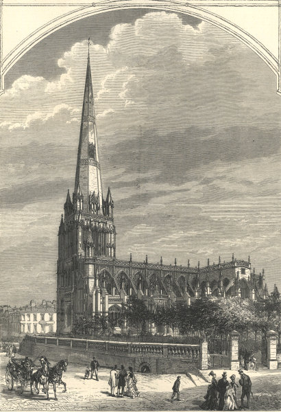 Associate Product St. Mary Redcliffe church, Bristol 1875 antique ILN full page print