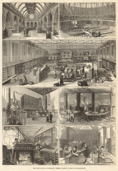 Associate Product Wine. Gilbey London Pantheon bonded warehouse Round House Chalk Farm Cork 1875