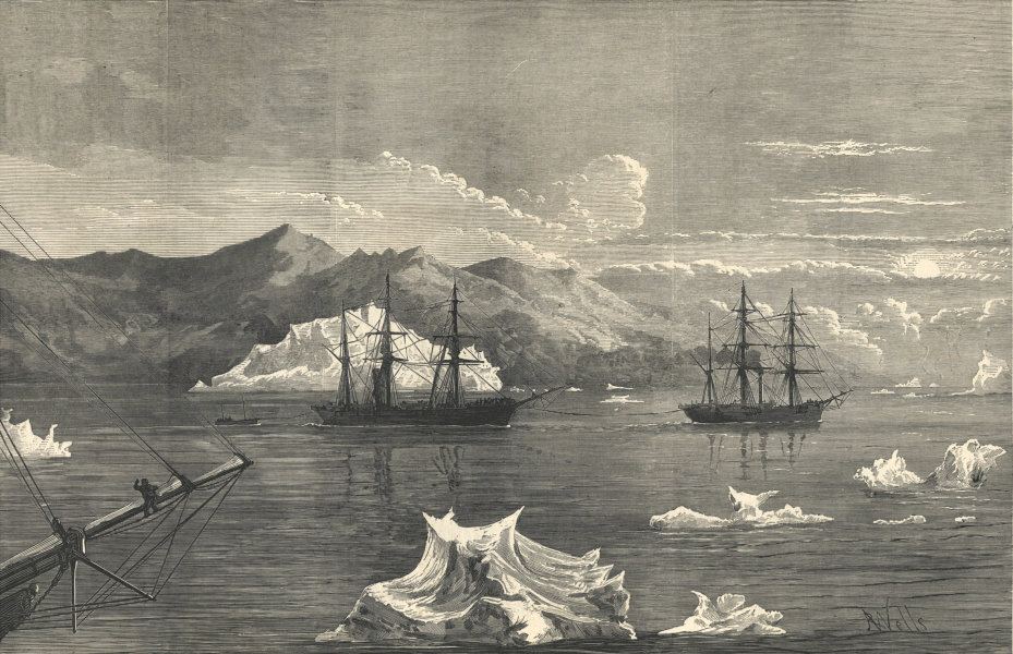 Associate Product Arctic Expedition Alert towing Discovery Icebergs Disko mountains Greenland 1875