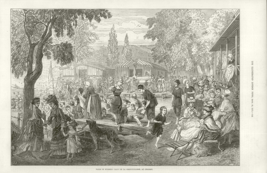 Associate Product Paris in Summer: Bain à la Grenouillère, at Croissy 1875 antique ILN full page