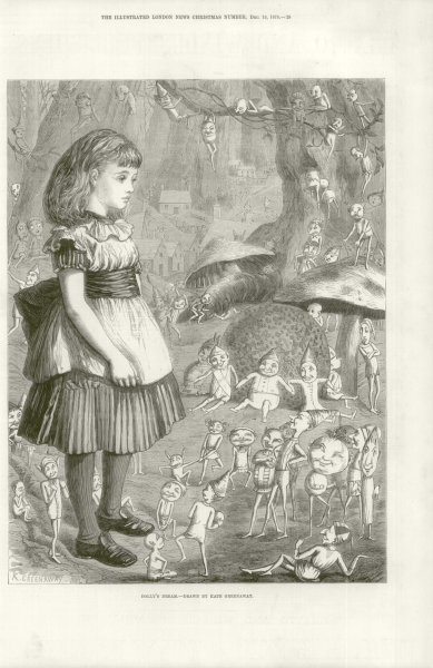 Associate Product Dolly's Dream - drawn by Kate Greenaway. Fantasy 1875 antique ILN full page