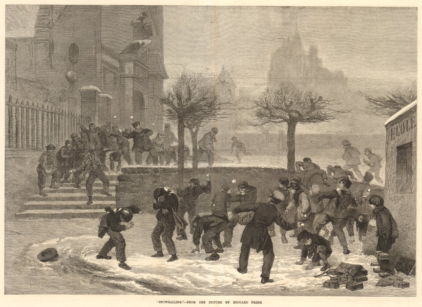 """Associate Product """"Snowballing"""", from the picture by Edouard Frere. Winter sports 1876 ILN print"""