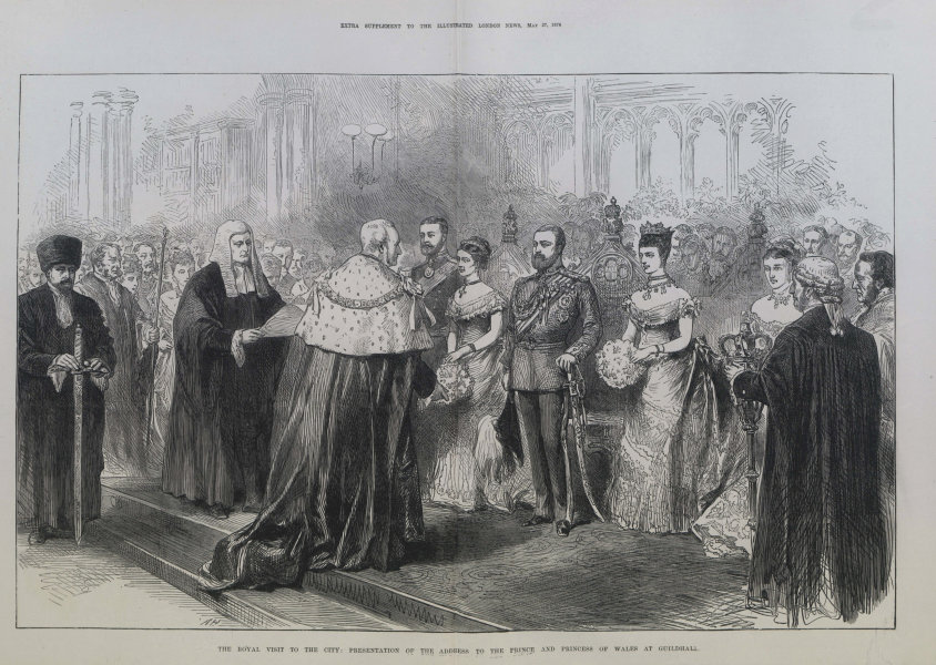 Associate Product Address to the Prince & Princess of Wales at Guildhall. City of London 1876