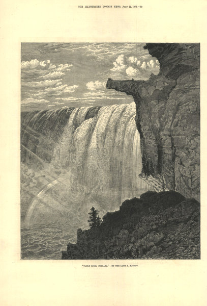 """Associate Product """"Table Rock, Niagara"""". Canada 1876 antique ILN full page print"""