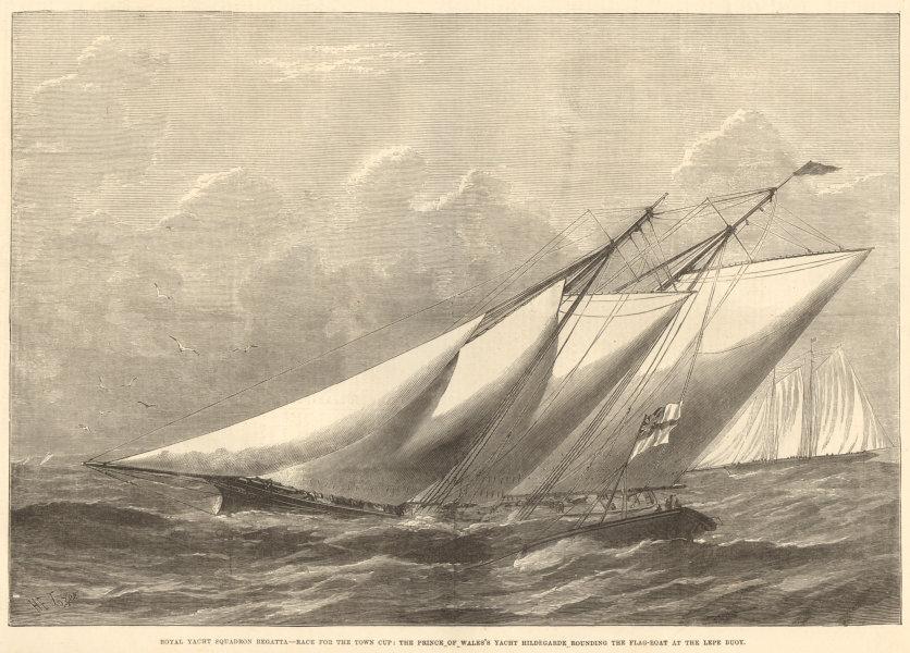 Associate Product Royal Yacht Squadron Regatta: Hildegarde rounding the flag-boat, Lepe Buoy 1876