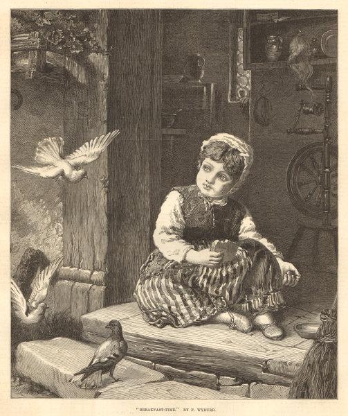 "Associate Product ""Breakfast-time"", by F. Wyburd. Children. Birds 1876 antique ILN full page"