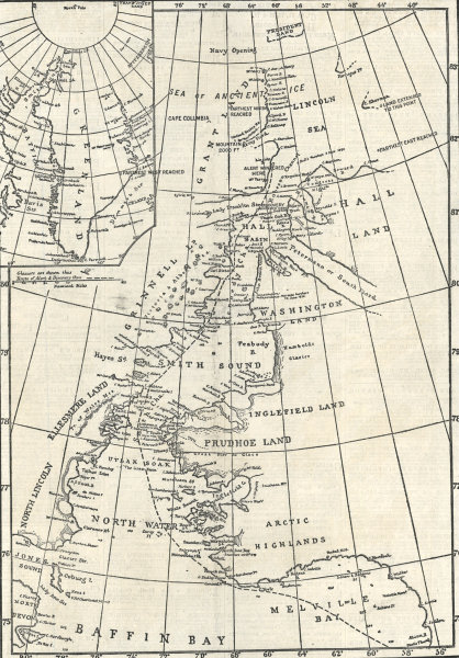 Associate Product North Pole Expedition: Map showing the expedition route. Arctic 1876 map