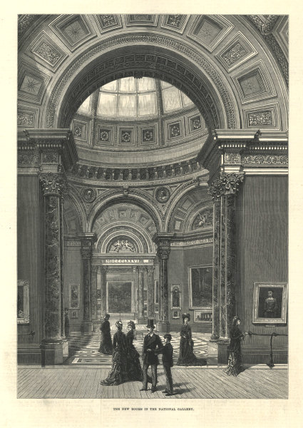 The new rooms in the National Gallery. Barry Rooms. London 1876 ILN full page