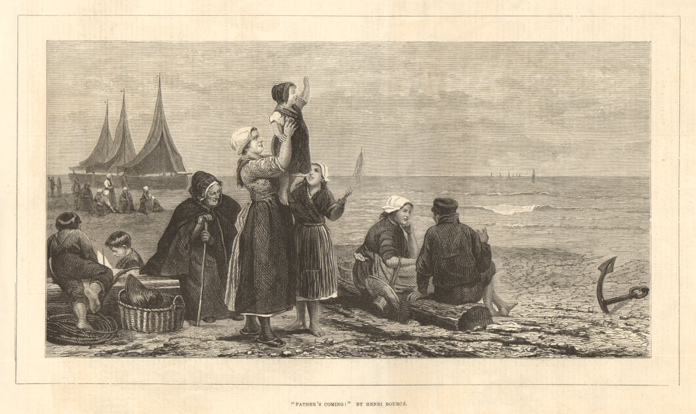 """Associate Product """"Father's coming"""", by Henri Bource. Family. Family 1876 antique ILN full page"""