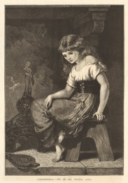 Associate Product Cinderella - by H. Le Jeune, A. R. A. Children. Fine arts 1876 ILN full page