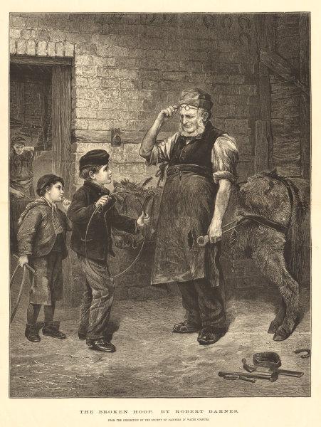 """Associate Product """"The broken hoop"""", by Robert Barnes. Children. Artists 1876 antique ILN page"""