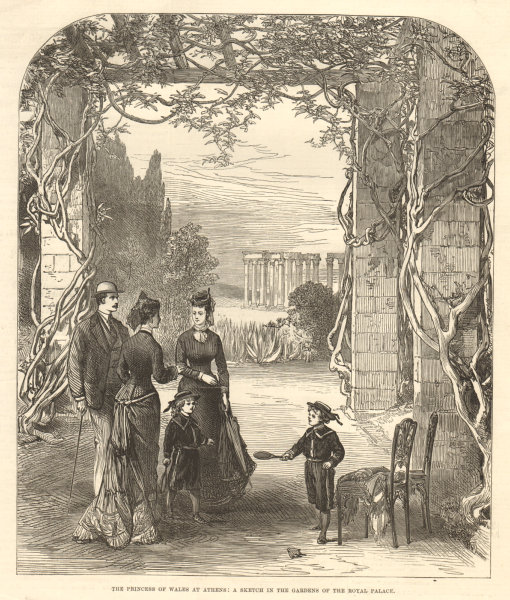 Associate Product The Princess of Wales at Athens: in the Royal Palace gardens. Greece 1877