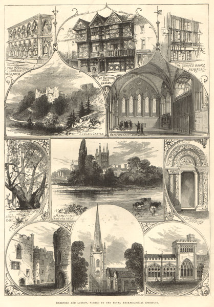 Associate Product Hereford & Ludlow views: Cantilupe Shrine. Feathers Inn. Castle. Ross spire 1877