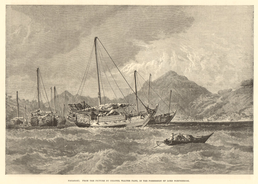 Associate Product Nagasaki, Japan. From the picture by Colonel Walter Fane. Boats 1877 ILN print