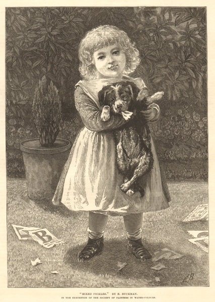 """""""Mixed pickles"""", by E. Buckman. Children. Dogs 1878 antique ILN full page print"""