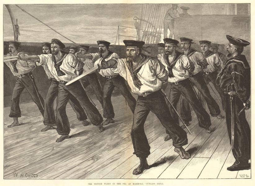 Associate Product The British Fleet in the Sea of Marmara: cutlass drill. Turkey. Militaria 1878