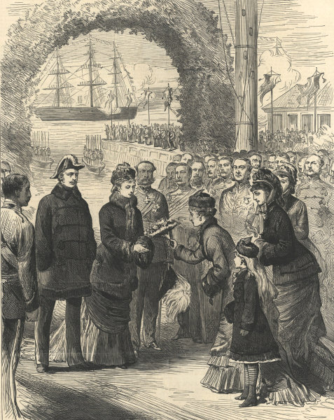 Associate Product Princess Louise given flowers on landing at Halifax, Nova Scotia. Canada 1878
