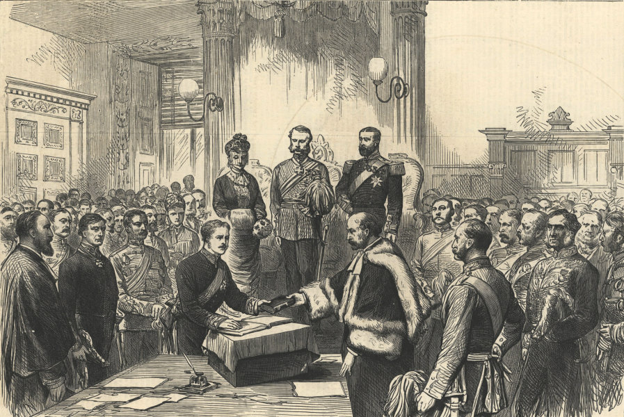 Associate Product The Marquis of Lorne being sworn in as Governor-General of Canada. Society 1878