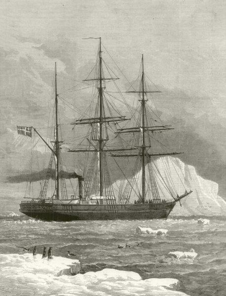 Associate Product The Swedish Arctic exploring ship Vega among icebergs 1880 ILN full page print