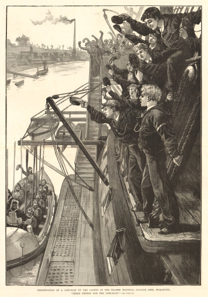Associate Product Presentation of a life-boat by Thames Nautical College cadets. Worcester 1880