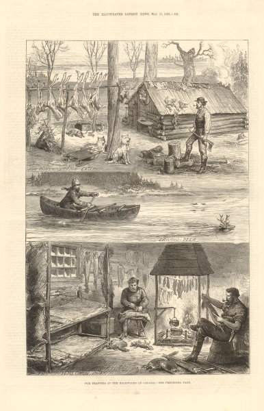 Fur trappers in the backwoods of Canada 1880 antique ILN full page print