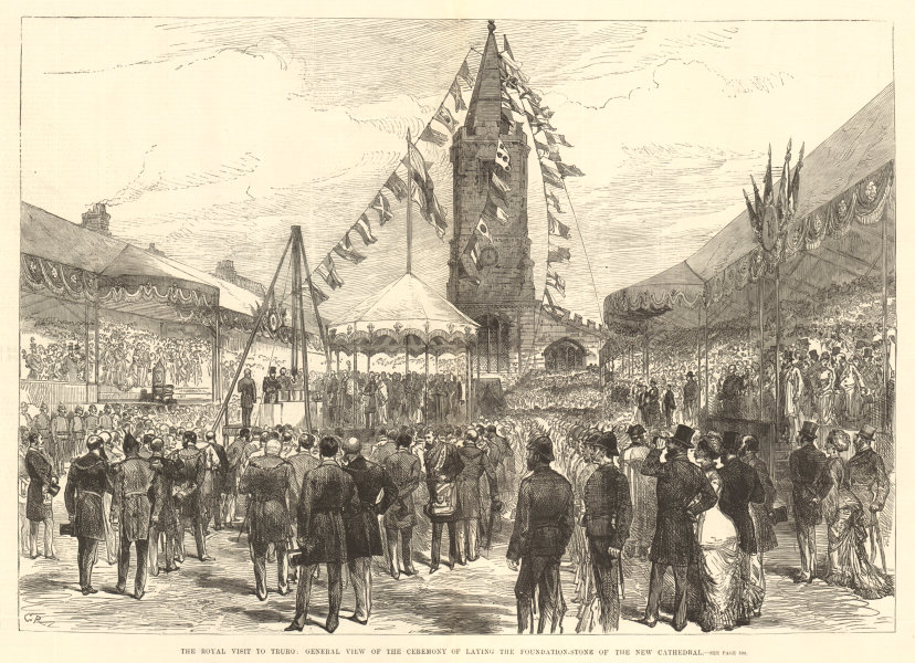 Associate Product Laying the key-stone of Truro cathedral. Cornwall 1880 antique ILN full page
