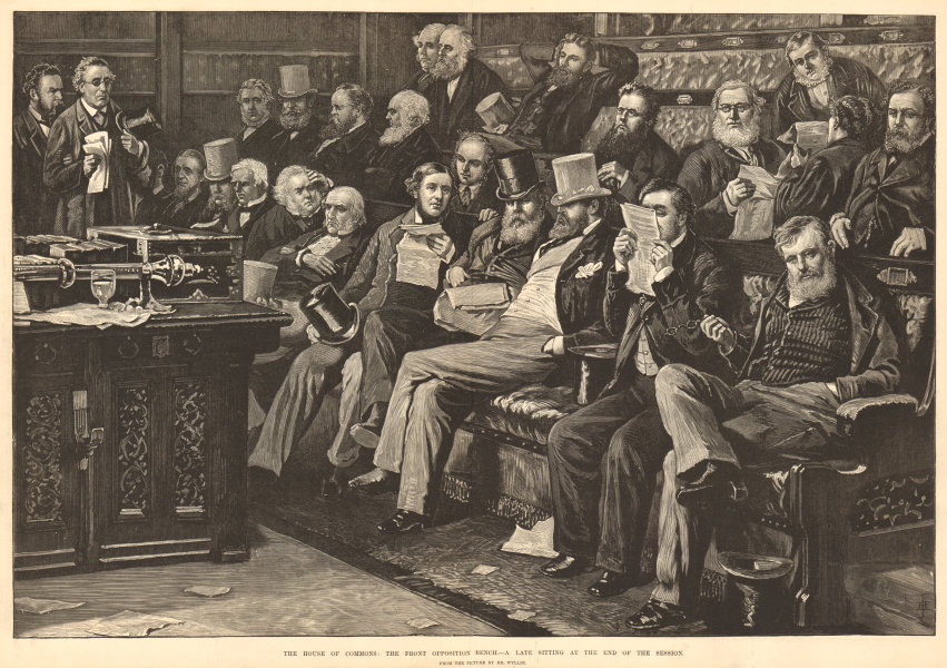 Associate Product The House of Commons opposition front bench. A late sitting London Politics 1880