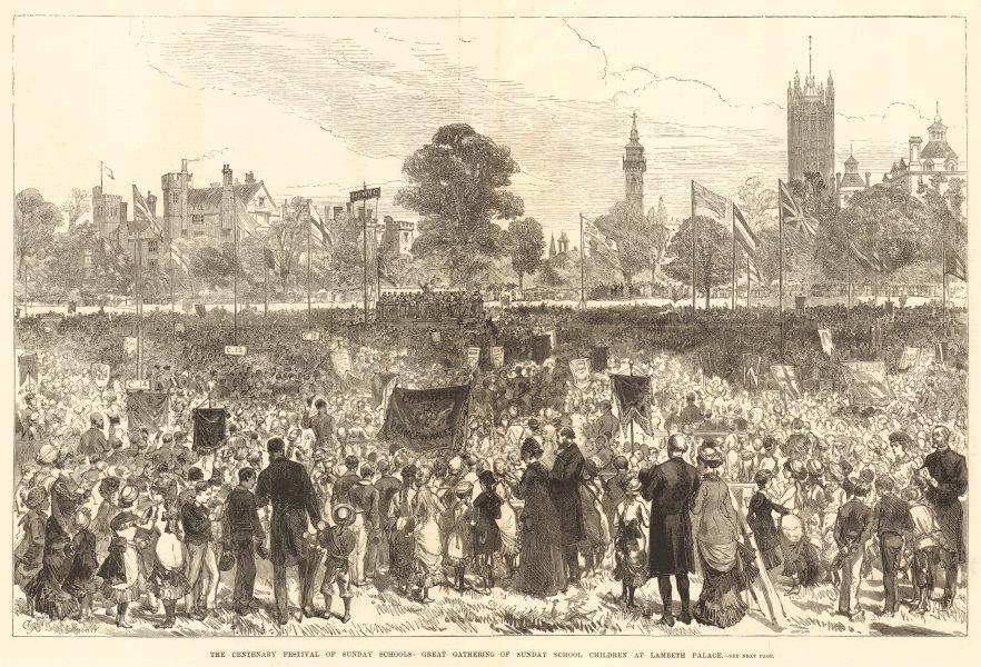 Associate Product Gathering of Sunday School children at Lambeth Palace. London 1880 ILN print