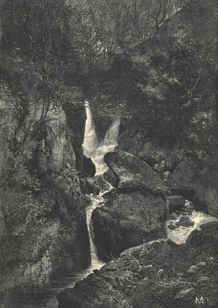Associate Product Stock Ghyll Force, near Ambleside, Windermere. Westmoreland. Waterfalls 1880
