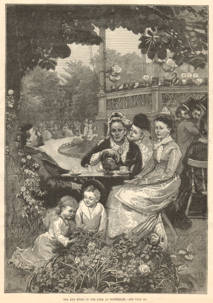 Associate Product Tea & music in the park at Rotterdam. Netherlands 1880 antique ILN full page