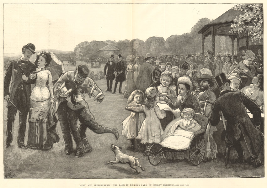 Associate Product Music & refreshments: The band in Regent's Park on Sunday evenings. London 1880