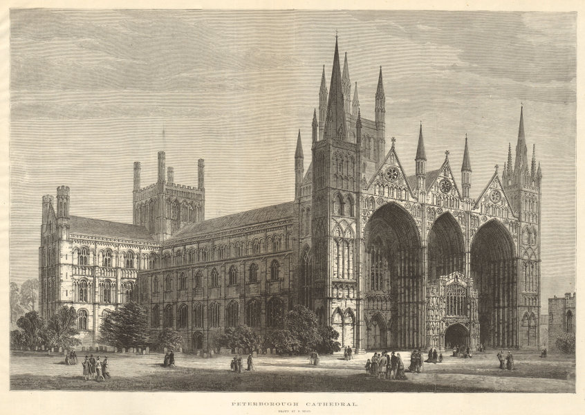 Associate Product Peterborough Cathedral. Cambridgeshire. Churches 1880 antique ILN full page