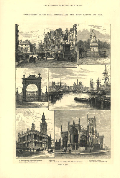 Associate Product Hull: Market-place Park Gate Princess Dock Town hall Lowgate Holy Trinity 1881