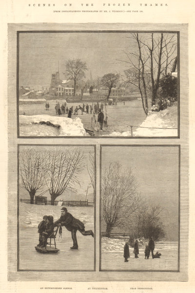Associate Product Frozen Thames scenes: An extemporised sledge. Twickenham. Teddington 1881