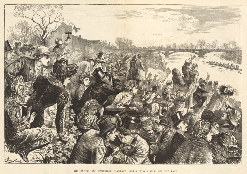 Associate Product The Oxford & Cambridge boat-race: people who always see the race. Rowing 1881