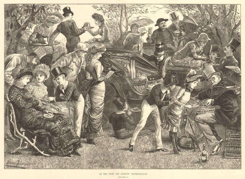 Associate Product At the Eton & Harrow cricket-match. London 1881 antique ILN full page print