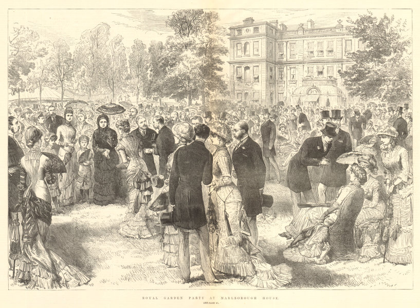 Royal garden party at Marlborough House. London. Society 1881 antique ILN page