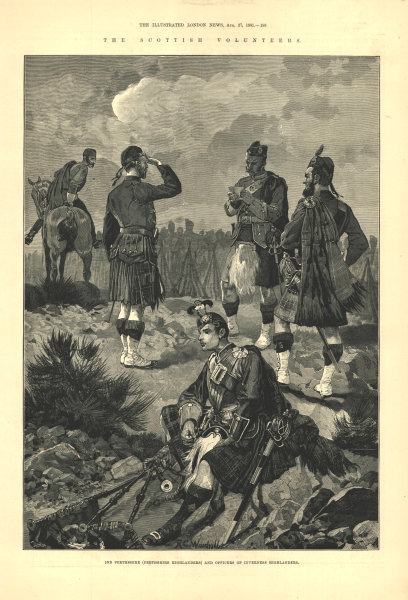 Associate Product 2nd Perthshire Highlanders. Inverness Highlanders officers. Scotland 1881