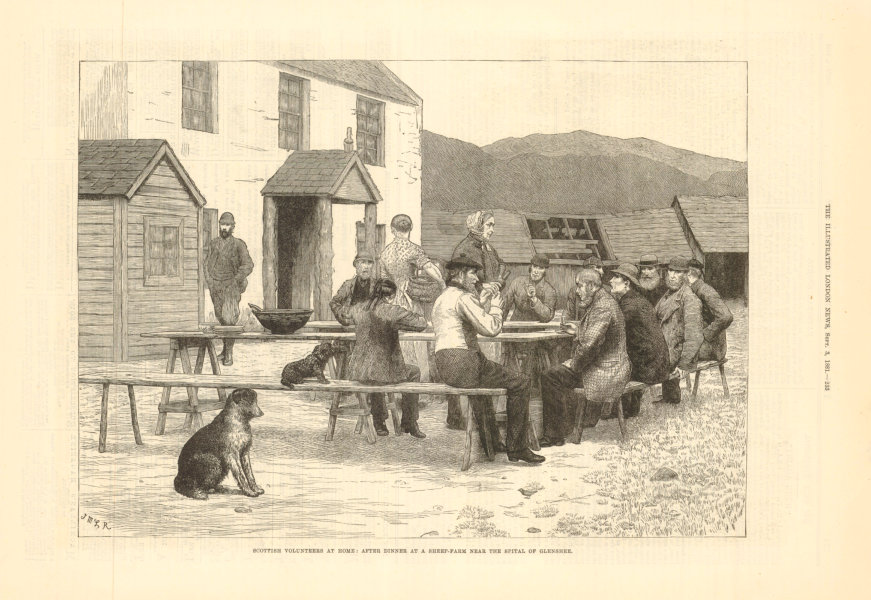 Associate Product Scottish volunteers: After dinner at a sheep farm, Spital of Glenshee 1881