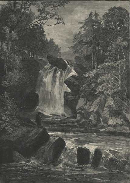 Associate Product The falls of Muick, five miles from Ballater, Scotland. Waterfalls 1881