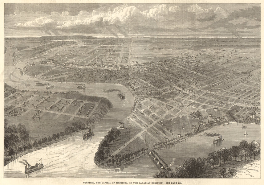 Associate Product Winnipeg, the capital of Manitoba, in the Canadian Dominion 1881 ILN full page