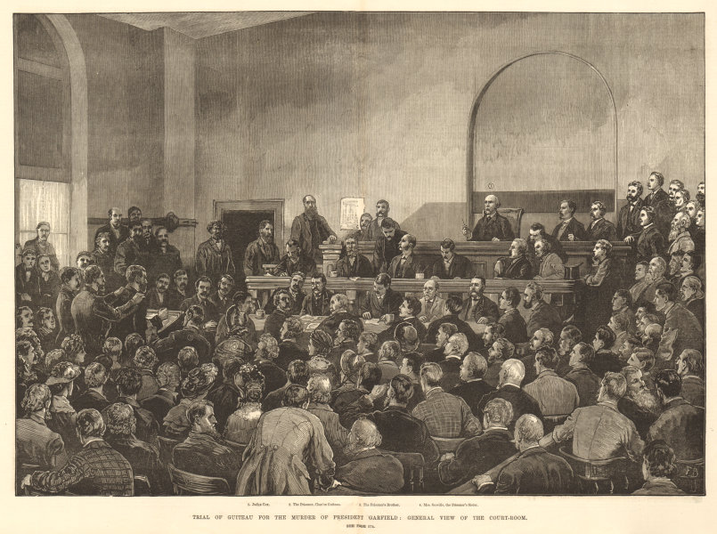 Associate Product Guiteau on trial for murdering President Garfield Courtroom Washington DC 1881