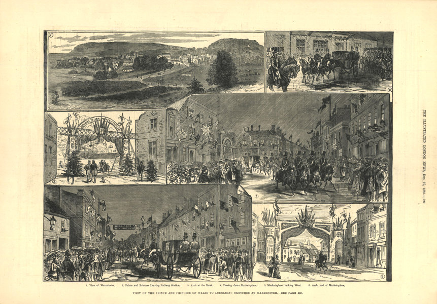 Associate Product Warminster views: Royal party at railway station. Market-place. Wiltshire 1881