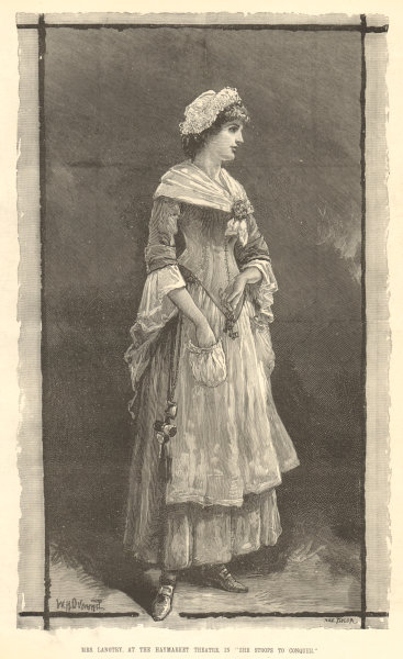 Associate Product Mrs. Langtry. Haymarket Theatre. She stoops to Conquer. Oliver Goldsmith 1881