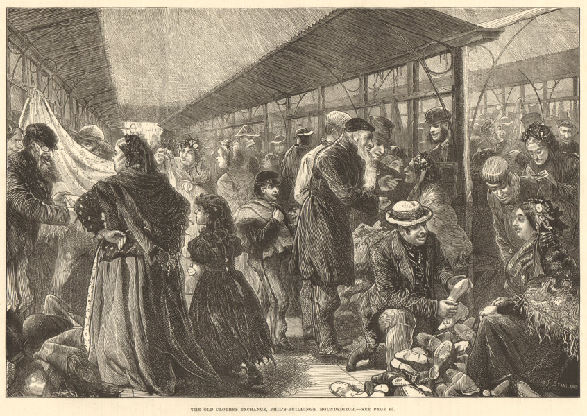 The old clothes exchange, Phil's-buildings, Houndsditch. London. Markets 1882