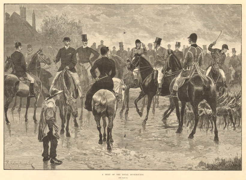 Associate Product A meet of the Royal Buckhounds. Hunting. Fine arts 1882 antique ILN full page